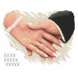 ZN 10170 Set mit Aida mit Aufdruck und Stickgarn - Hochzeitsandenken - Hände