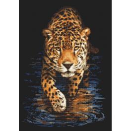 Set mit Aida mit Aufdruck und Stickgarn - Panther - Jagd in der Nacht