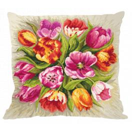 Zählmuster - Kissen - Bezaubernde Tulpen
