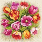 Aida mit Aufdruck - Bezaubernde Tulpen