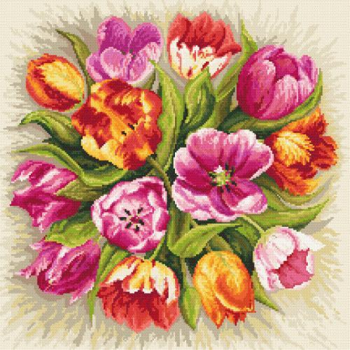 Set mit Aida mit Aufdruck und Stickgarn - Bezaubernde Tulpen