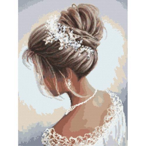 Stickpackung mit Stickgarn und Perlen - Dame in Weiß