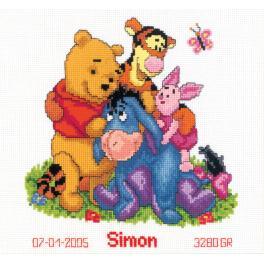 Stickpackung - Geburtsschein - Pu der Bär und seine Freunde
