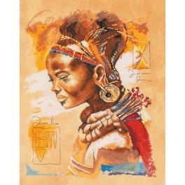 Stickpackung mit Stickgarn und Hintergrund - Afrikanische Frau