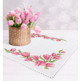 Stickpackung mit Stickgarn und Serviette - Serviette mit Tulpen