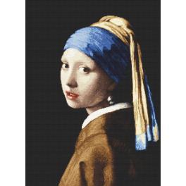 ZN 8974 Set mit Aida mit Aufdruck und Stickgarn - Die Frau mit der Perle - J. Vermeer