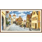 Set mit Aida mit Aufdruck und Stickgarn - Malerisches Rothenburg