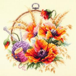 Stickpackung - Mohnblumen für Stickerin