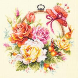 Stickpackung - Rosen für Stickerin