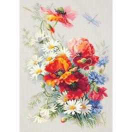 Stickpackung - Mohnblumen und Gänseblümchen