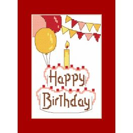 ZU 8973 Stickpackung mit Stickgarn und Karte - Karte - Happy Birthday