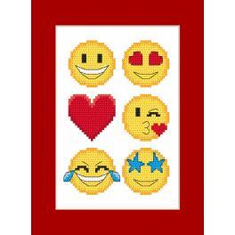 Stickpackung mit Stickgarn und Karte - Karte - Emoticons