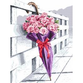 Set mit Aida mit Aufdruck und Stickgarn - Schirm mit blühenden Rosen