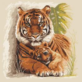 Set mit Aida mit Aufdruck und Stickgarn - Tiger