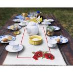 Stickpackung mit Stickgarn und Tischläufer - Tischläufer mit Mohnblumen 3D