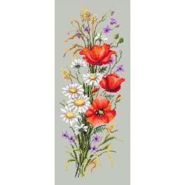 ZKN 10215 Stickpackung mit Aufdruck, Stickgarn und Perlen - Gebinde aus Wiesenblumen
