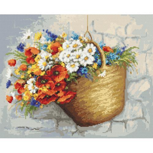 Zählmuster - Blumenstrauß mit Mohnblumen im Korb