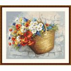 Set mit Aida mit Aufdruck und Stickgarn - Blumenstrauß mit Mohnblumen im Korb