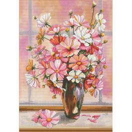 Stickpackung mit Stickgarn und Hintergrund - Blumendunst