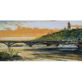 Stickpackung mit Stickgarn und Hintergrund - Ufer des Dnepr