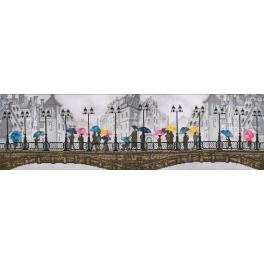 Stickpackung mit Stickgarn und Hintergrund - Leuchtender Regen