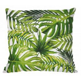 Stickpackung mit Kissenbezug - Kissen - Exotische Blätter