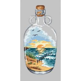 Stickpackung - Flasche mit Sonnenuntergang