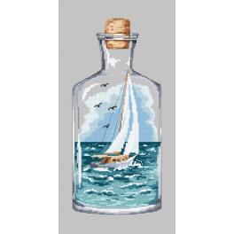 Set mit Aida mit Aufdruck und Stickgarn - Flasche mit Segelboot