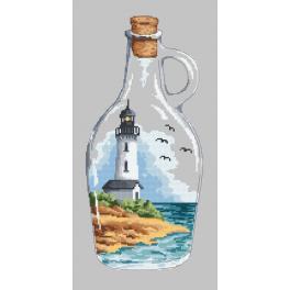 Stickpackung - Flasche mit Leuchtturm