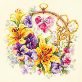 Stickpackung - Lilien für Stickerin