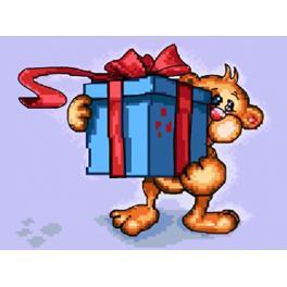 Zählmuster - Teddybär mit einem Geschenk
