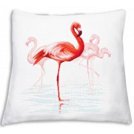 Stickpackung mit Kissenbezug - Kissen mit Flamingos