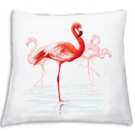 Zählmuster - Kissen mit Flamingos