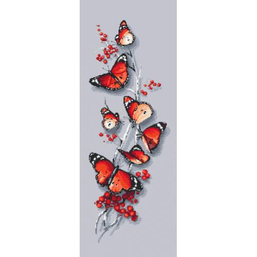 Stickpackung mit Stickgarn und Perlen - Schmetterlingsreiz