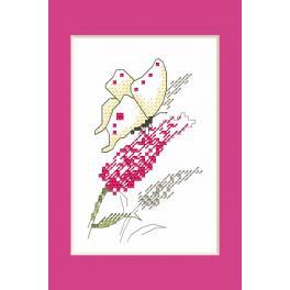 ZUI 10228 Stickpackung mit Stickgarn und Perlen - Gelegenheitskarte - Schmetterling