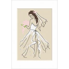 ZI 10226 Stickpackung mit Stickgarn und Perlen - Hochzeitskarte - Braut
