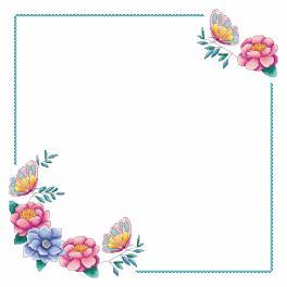 W 4395 Zählmuster ONLINE - Serviette mit Blumen