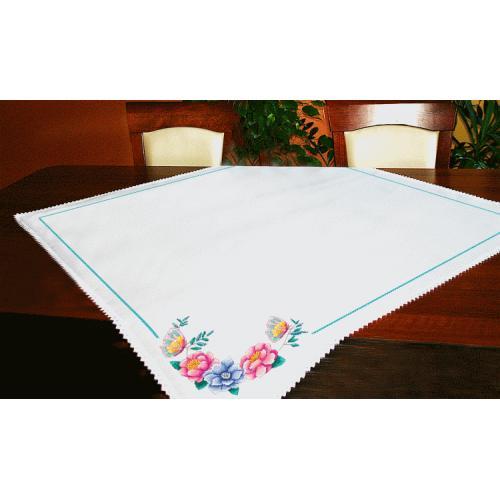 Stickpackung - Tischdecke mit Blumen