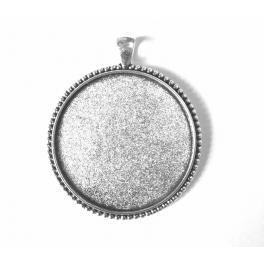 Runde Medaillonbasis silberne Farbe 40mm