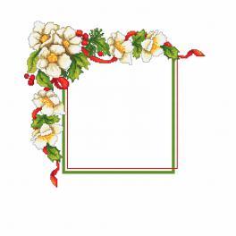 Zählmuster - Weihnachtsserviette mit Blumen