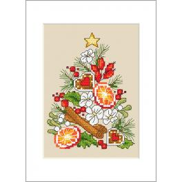 Stickpackung mit Stickgarn und Karte - Karte - Weihnachtsbaum