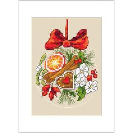 Stickpackung mit Stickgarn und Karte - Karte - Weihnachtskügelchen