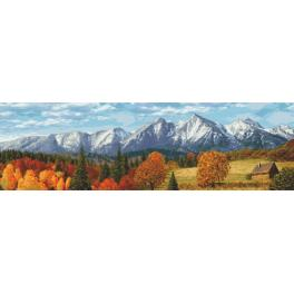 Aida mit Aufdruck - Gebirge im Herbst