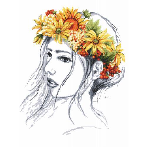 Set mit Aida mit Aufdruck und Stickgarn - Herbstfrau