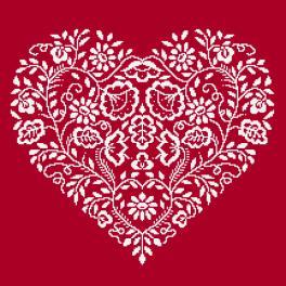 Zählmuster - Herz - Weiße Stickerei