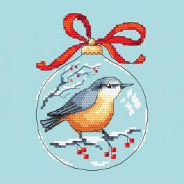 Stickpackung - Weihnachtskugel mit Vogel
