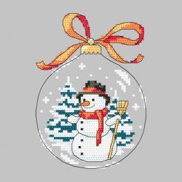 Stickpackung - Weihnachtskugel mit Schneemann