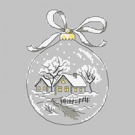 Stickpackung - Weihnachtskugel mit Hütte
