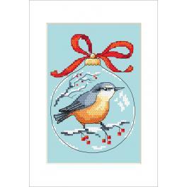 Stickpackung mit Stickgarn und Karte - Karte - Weihnachtskugel mit Vogel