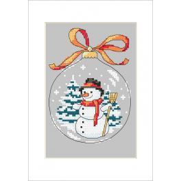 ZU 10236-01 Stickpackung mit Stickgarn und Karte - Karte - Weihnachtskugel mit Schneemann